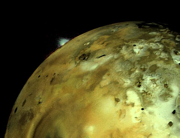 Volcanic eruption on Io, as photographed by Voyager 1